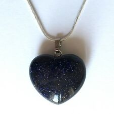 "Blue Goldstone Crystal Heart Pendant 25mm with 20"" Silver Necklace Luck Magical"