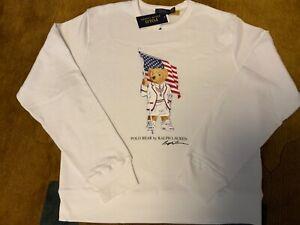 Polo Ralph Lauren USA flag Polo Bear fleece white sweatshirt  NWT $149 Sz L NH