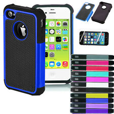 For iPhone 4S 5S 5C Hybrid Dual Layer Case With Tempered Glass Screen Protector