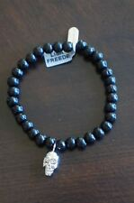 NEW Celebrity Designer Lisa Freede Rhodium Skull Ebony Stretch Bracelet