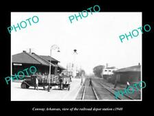 OLD 8x6 HISTORIC PHOTO OF CONWAY ARKANSAS THE RAILROAD DEPOT STATION c1940