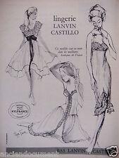 PUBLICITÉ 1958 LINGERIE LANVIN CASTILLO NYLON NYLFRANCE ELIZA FENN - ADVERTISING