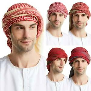 Men's Muslim Arab Hijab Keffiyeh Scarf Turban Cap Islamic Head Wrap Cap Headwear
