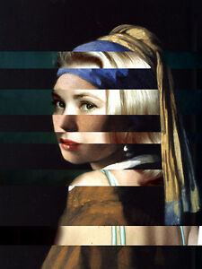 "Vermeer's ""Girl with a Pearl Earring"" & Grace Kelly Canvas 11.8""X15.7"""