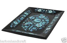 """7""""x10"""" Marble Serving Tray Plate Real Turquoise Stone Marquetry Inlay Gift H1418"""