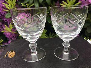 Vintage Lead Crystal  Wine / Water Glass x 2 glasses Georgian cut doulton / webb