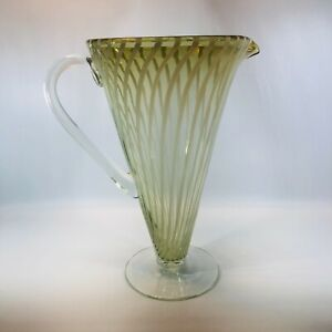 Hand Blown Cone Shaped Striped Glass Martini Pitcher Mid Century Inspired 10.25""