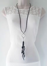 Gorgeous black faux leather cord & SILVER tone heart & tassel pendant necklace