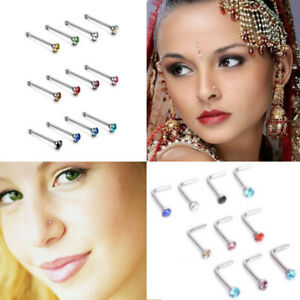 40/60Pc/Box Nose Studs Stainless Steel CZ Nose Rings Stud Piercing Hoop Ring I L