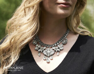 NEW Park Lane Jewelry NADIA Necklace Statement Gray Satin Silver Crystals