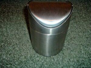 ERNESTO Brushed Stainless Steel Tabletop SWING Bin APPROX 16c Hi x 11.5c width