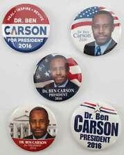 Dr Ben Carson 2016 Campaign Buttons Set of FIVE