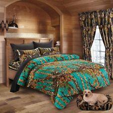 12 piece Teal Woods Camo comforter Queen Black sheet pillowcases curtain