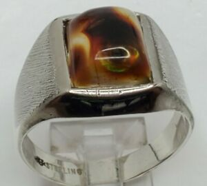 Red and White Banded Lake Superior Agate Men/'s Ring set in .950 Sterling Silver  Size 10