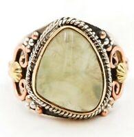 Three Tone Moss Prehnite 925 Solid Sterling Silver Ring Jewelry Sz 7, ED33-7