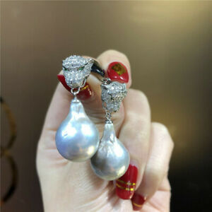 12-13 MM genuine tahitian  south sea silver gray  Pearl earrings