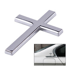 Silver Metal Car 3D Jesus Cross Side Body Emblem Badge Sticker Adhesive Decal