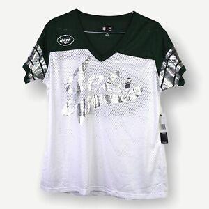 NFL Women's Top XL New York Jets White Green Metallic Short Sleeve Team Apparel