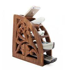 Telecomando in legno Handcarved telefono PEN OCCHIALI Organizer Storage Box Holder