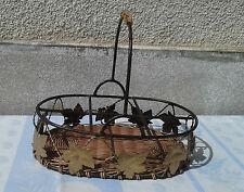 Ancien panier en métal et osier de table ou fruits french antique