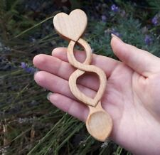 Small Maple Wooden Welsh Love Spoon With Twist & Heart Handmade