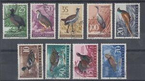 YUGOSLAVIA 1958 GAME BIRDS USED SET (x9) (ID:511/D60704)