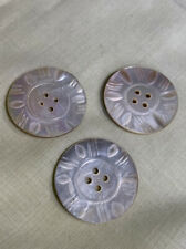 New listing Mother Of Pearl Shell 3 Carved Buttons T-31