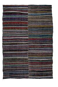 "Vintage Striped Turkish Rag Rug 7'5"" X 10'9"""