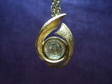 Serviced~Waltham 17J Swiss Modernist Necklace Pendant Watch W/Gold Plate Chain
