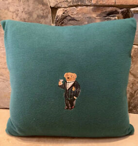 Ralph Lauren Home Alsten Martini Polo Bear Green Throw Pillow 18x18 $215