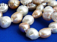 A 18'' 13mm White Pink Lavender Baroque Freshwater Pearl Silver Necklace