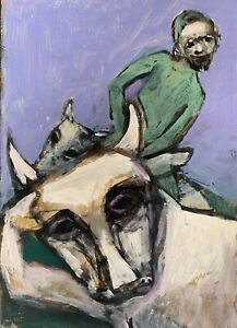 """Robert Broderson """"Man In Green on Bull"""" Painting on Paper (C)1970, 10"""" X 6.75"""""""