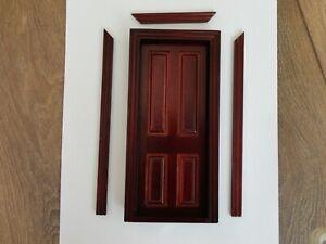 DOLLS HOUSE 1/12 SCALE 4 PANEL DARK WOOD DOOR - THE WONHAM COLLECTION