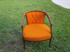 Hollywood Regency Barrel Back Arm Chair Upholstered Fabric Vintage Faux Bamboo
