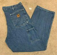 Mens Carhartt Original Dungaree Fit Denim Blue Jeans (Size W38 L30) L6
