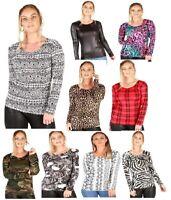 Ladies Snake Tartan Zebra Leopard Wetlook Printed Long Sleeve Tshirt Top UK Size