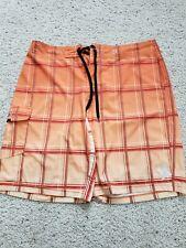 Hurley Men's Swim Shorts Board Shorts Orange White plaid size 36