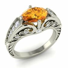 14K White Gold Art Deco Look Ring Certified Oval-Cut Citrine & Real G/Si Diamond
