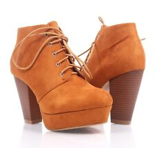 Tan Color Faux Suede Lace Up Cuban High Heel Booties Womens Ankle Boots Size 9