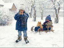 WINTER'S BLANKET,CHILDREN,CAT,SLED,SNOW 12X16 UNFRAMED PRINT BY ROBERT DUNCAN