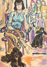 Vintage pastel painting modernist portrait