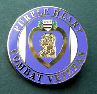 PURPLE HEART COMBAT VETERAN LARGE LAPEL HAT PIN BADGE 1.5 INCHES