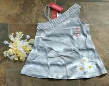 NWT Sz 8 Gymboree LADY DAISY Top White Black Stripe Yellow Flower