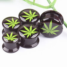 Mariguana Hemp Leaf Screw Ear Plug Flesh Tunnel Gauges Double Flared Saddle Punk