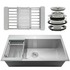 AKDY Handmade Drop-in Stainless Steel 33 in. x 22 in. Single Bowl Kitchen Sink
