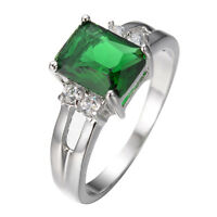 Green Emerald Zircon Ring White Gold Filled Wedding Band Women Jewelry Size 5-10