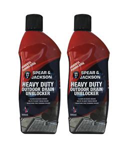 Drain Unblocker 2 x 500ml Spear & Jackson Heavy Duty formula