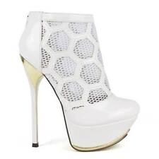 White Honeycomb Mesh Platform Bootie Heels, US 7