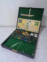 Game Collection in Suitcase - Vintage - u. a. Chess / Mill / Lady / Domino