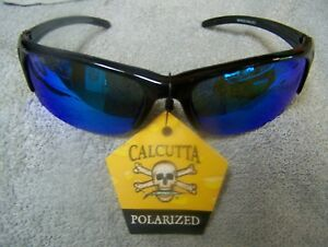 CALCUTTA BERMUDA BLACK  FRAME BLUE MIRROR POLARIZED LENS SUNGLASSES NEW